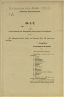 Nr. 19/H. H... Gesetz... betreffend die Verhütung und Bekämpfung übertragbarer Krankheiten - Wien, 10.2.1913 r.