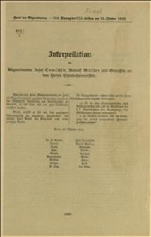 4021/I Interpellation der Abgeordneten Josef Tomschik, Rudolf Müller und Genossen an den Herrn Eisenbahnminister -Wiedeń, 23.10.1913