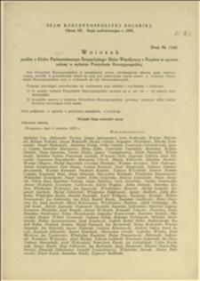 Wniosek posłów z Klubu Parlamentarnego BBWR w sprawie ustawy o wyborze Prezydenta Rzeczypospolitej - Warszawa, 06.06.1935 r.