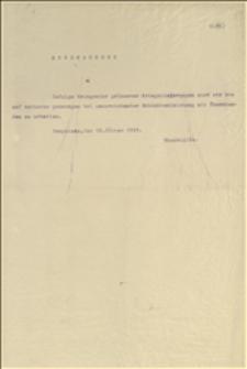 Odpis zarządzenia Śląskiego Rządu Krajowego o przedłużeniu dniówek w hucie trzynieckiej o dwie godziny nadliczbowe w okresie od 22.07. do 30.10.1915 r., oraz ogłoszenie o przedłużeniu okresu pracy z godzinami nadliczbowymi i premiach dla walcowników