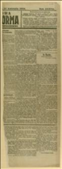 """Fragment podłużny pierwszej karty """"Nowej Reformy"""", R. 37, 27.04.1918 r."""