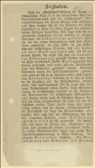 Wycinek z gazety niemieckiej o obcięciu płac robotników Zakładów Kruppa przeznaczonych na jubileusz 100-lecia istnienia zakładów