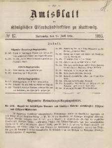 Amtsblatt der Königlichen Eisenbahndirektion zu Kattowitz, 1895, nr17