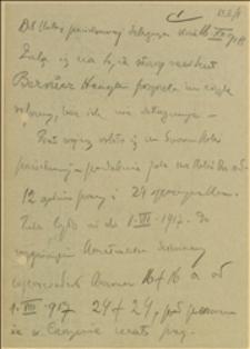 """""""Notatka T. Regera z delegacji z kolei państwowej w dniu 16.12.1918 r. w sprawie niedotrzymania przez Henryka Bezrucza starszego rewidenta wprowadzenia regulaminowych godzin pracy"""""""