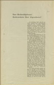 """Petycja przedłożona Parlamentowi w Wiedniu przez """"I. österr. Staatsdienerverein"""" w sprawie należności za mieszkania służbowe"""