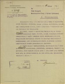 Pismo Min. Pracy i Opieki Społecznej do delegata tego Ministerstwa w Cieszynie w sprawie zorganizowania opieki dla powracających z Rosji - Warszawa, 25.02.1921 r.