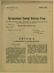 Sprawozdanie Komisji Ochrony Pracy w przedmiocie projektu ustawy o zabezpieczeniu na wypadek bezrobocia, przedłożonej przez Rząd - Warszawa, 18.06.1924 r.