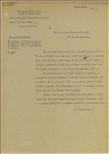 Pismo Pierwszego Prokuratora Sądu Najwyższego w Warszawie do Ministerstwa Sprawiedliwości w Warszawie w sprawie obowiązywania na Śląsku Cieszyńskim ustawy o czasie pracy w przemyśle i handlu - Warszawa, 25.02.1929 r.