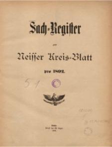 Sach-Register zum Neisser Kreis-Blatt pro1892