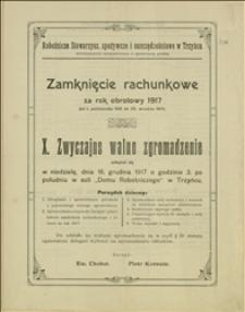Zamknięcie rachunkowe Robotniczego Stowarzyszenia spożywczego i oszczędnościowego w Trzyńcu za okres 01.10.1916-30.09.1917 r.