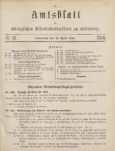 Amtsblatt der Königlichen Eisenbahndirektion zu Kattowitz, 1898, nr16