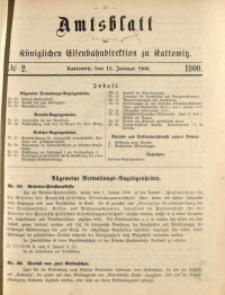 Amtsblatt der Königlichen Eisenbahndirektion zu Kattowitz, 1900, nr2