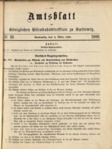 Amtsblatt der Königlichen Eisenbahndirektion zu Kattowitz, 1900, nr10