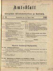 Amtsblatt der Königlichen Eisenbahndirektion zu Kattowitz, 1900, nr16