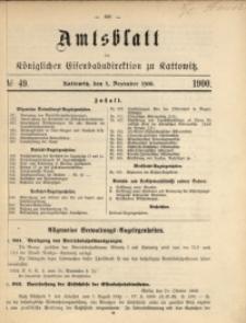 Amtsblatt der Königlichen Eisenbahndirektion zu Kattowitz, 1900, nr49