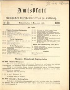Amtsblatt der Königlichen Eisenbahndirektion zu Kattowitz, 1900, nr50