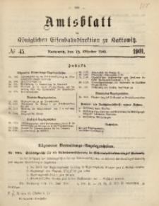 Amtsblatt der Königlichen Eisenbahndirektion zu Kattowitz, 1901, nr45