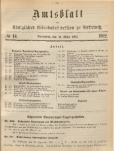 Amtsblatt der Königlichen Eisenbahndirektion zu Kattowitz, 1902, nr14