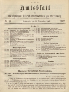 Amtsblatt der Königlichen Eisenbahndirektion zu Kattowitz, 1902, nr54
