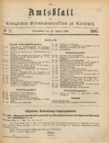 Amtsblatt der Königlichen Eisenbahndirektion zu Kattowitz, 1903, nr17