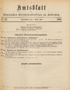 Amtsblatt der Königlichen Eisenbahndirektion zu Kattowitz, 1904, nr19
