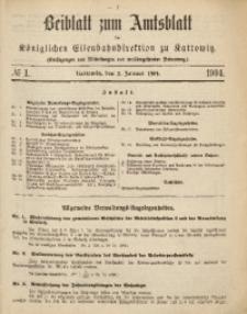 Beiblatt zum Amtsblatt der Königlischen Eisenbahndirektion zu Kattowitz, 1904, nr1