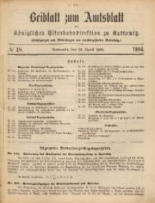 Beiblatt zum Amtsblatt der Königlischen Eisenbahndirektion zu Kattowitz, 1904, nr18