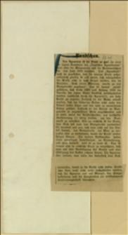 Wycinek z gazety niemieckiej o urodzajach pszenicy w 1910 r.