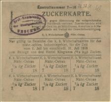 Kartka żywnościowa na cukier w lipcu 1918 r.