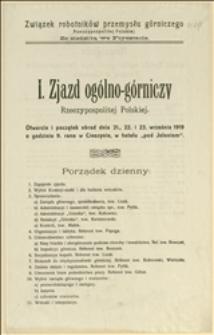 I [|Pierwszy] Zjazd ogólno-górniczy Rzeczypospolitej Polskiej - porządek dzienny, regulamin obrad, wnioski dotyczące zmian w regulaminie