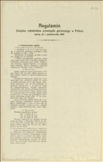 Regulamin Związku robotników przemysłu górniczego w Polsce ważny od 1. października 1919...