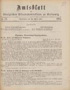 Amtsblatt der Königlichen Eisenbahndirektion zu Kattowitz, 1905, nr18