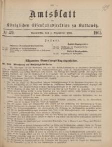Amtsblatt der Königlichen Eisenbahndirektion zu Kattowitz, 1905, nr49