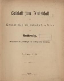 Sach-Register zu dem Beiblatt zum Amtsblatt der Königlischen Eisenbahndirektion zu Kattowitz, Jahrgang 1905