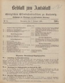 Beiblatt zum Amtsblatt der Königlischen Eisenbahndirektion zu Kattowitz, 1905, nr1