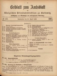 Beiblatt zum Amtsblatt der Königlischen Eisenbahndirektion zu Kattowitz, 1905, nr18
