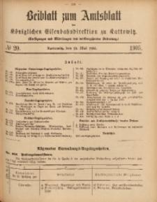 Beiblatt zum Amtsblatt der Königlischen Eisenbahndirektion zu Kattowitz, 1905, nr20