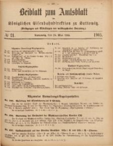 Beiblatt zum Amtsblatt der Königlischen Eisenbahndirektion zu Kattowitz, 1905, nr21