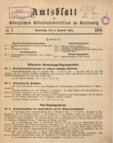Amtsblatt der Königlichen Eisenbahndirektion zu Kattowitz, 1906, nr1
