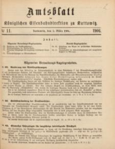 Amtsblatt der Königlichen Eisenbahndirektion zu Kattowitz, 1906, nr11