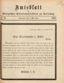 Amtsblatt der Königlichen Eisenbahndirektion zu Kattowitz, 1906, nr21