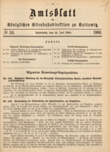 Amtsblatt der Königlichen Eisenbahndirektion zu Kattowitz, 1906, nr34