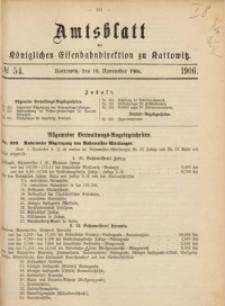 Amtsblatt der Königlichen Eisenbahndirektion zu Kattowitz, 1906, nr54