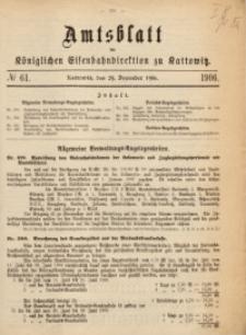 Amtsblatt der Königlichen Eisenbahndirektion zu Kattowitz, 1906, nr61