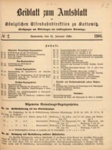 Beiblatt zum Amtsblatt der Königlischen Eisenbahndirektion zu Kattowitz, 1906, nr2