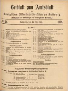 Beiblatt zum Amtsblatt der Königlischen Eisenbahndirektion zu Kattowitz, 1906, nr21
