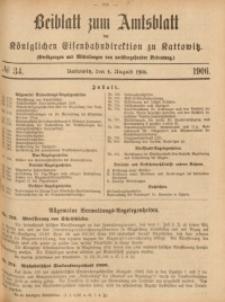 Beiblatt zum Amtsblatt der Königlischen Eisenbahndirektion zu Kattowitz, 1906, nr34
