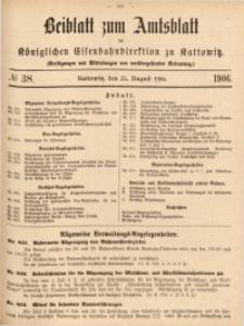 Beiblatt zum Amtsblatt der Königlischen Eisenbahndirektion zu Kattowitz, 1906, nr38