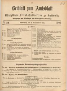 Beiblatt zum Amtsblatt der Königlischen Eisenbahndirektion zu Kattowitz, 1906, nr40