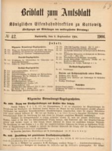 Beiblatt zum Amtsblatt der Königlischen Eisenbahndirektion zu Kattowitz, 1906, nr42